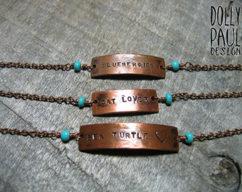 Personalized Bracelet, Customized,  Word Jewelry, Copper Chain Bracelet, Bohemian, Rustic, Hand Stamped Jewelry, Bridesmaid Gift, Sorority