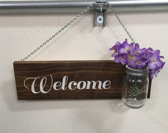 Hanging Welcome Sign with Mason Jar