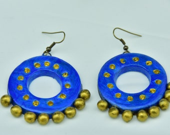 Vibrant Blue clay earring