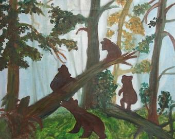 Vintage landscape forest bears oil painting