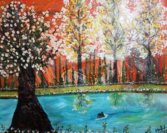 Contemporary landscape blooming trees oil painting signed