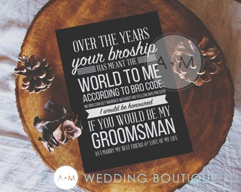 Will You Be My Groomsman, Cards, Best Man, Wedding Party, (Set of 2), 5x7 BROSHIP
