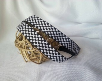 Non Slip Headbands Checkered Board Black White Pattern Print 7/8""