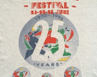 Original Glastonbury 1995 25 year anniversary incredibly rare and highly collectable vintage festival t shirt