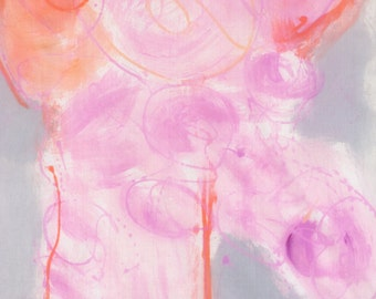 Hand painted silk scarf Cherry blossom. Floral abstract scarf painted, Long pastels scarf painted. MOthers Day. Silk painting Luxury scarf