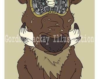 Grub and Warthog Robot Illustration Print