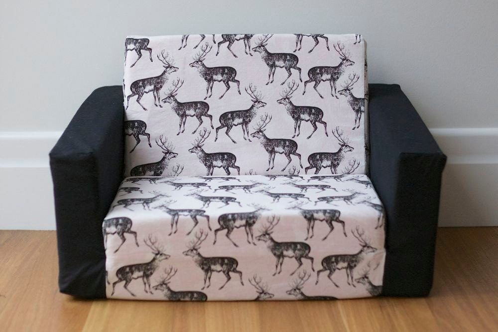 Kids flip out sofa cover black on white deer print with black Toddler flip out sofa couch bed
