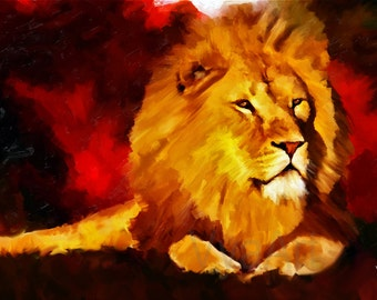 Lion Painting lion art lion lion print animal art lion wall art lion decor nursery art african art animal painting art lion art print poster