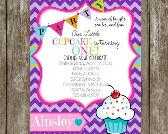 Cupcake 1st  Birthday Party Invitation Girls1st Birthday Custom Personalized Digital File Only or PRINTS