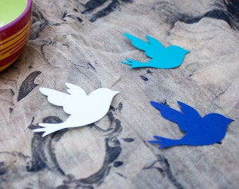 Blue Paper Bird Die Cuts - Cardstock Birds - Cut Out Birds