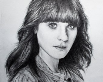 Zooey Deschanel Original Pencil Drawing