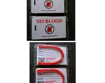 2 pcs No Blood bag tags