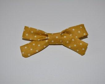 Mustard Polka Dot Schoolgirl Bow