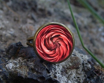 Glow in the dark Ring / Red flower / Glow in the dark / Glowing ring / Blue glowing / Glowing jewelry / Glow in the dark jewelry / Rose ring