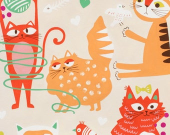 END of BOLTS SALE! Whiskers Cats Cream Alexander Henry Fabrics