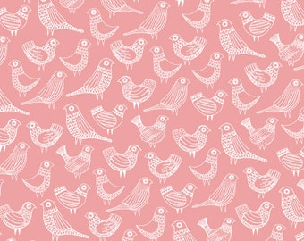 END OF BOLT Sale Flock By First Light collection Cloud9 Fabrics, Birds On Pink