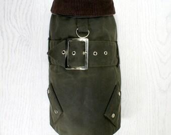 Classic Style Waxed Dog Jacket - Olive Green