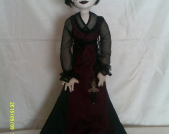 Mercedes  an original OOAK art doll.Paperclay head,painted in acrylics cloth body