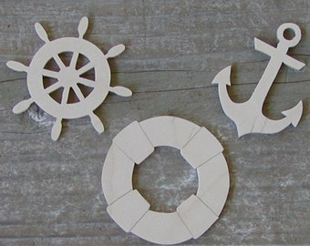 NAUTICAL Wood Cut-outs, 7 different designs ,Wood cutouts, Unpainted