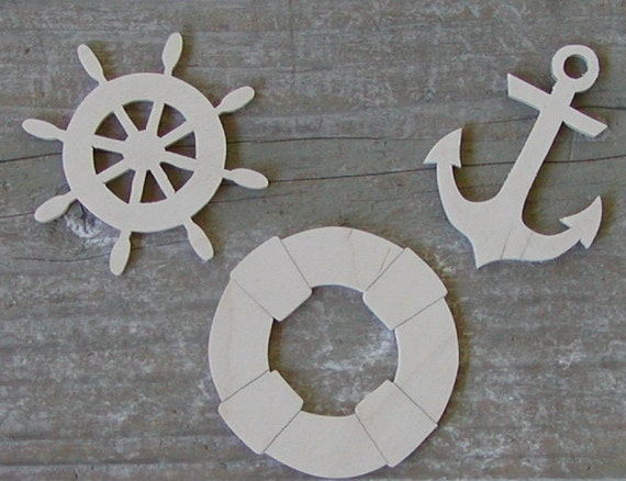 Nautical Wood Cut Outs 7 Different Designs Wood Cutouts