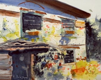 old house in Greece-original watercolor painting