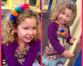 Lil' Boho Flower Child Pom Pom Headband/Necklace