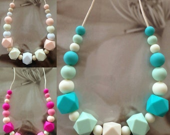 Pink, Blush, Turquoise or Navy 'Krystel' Silicone Necklace - choose your colour
