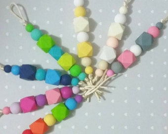 Silicone Beaded Keychain - choose your colours