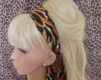 Tiger Animal Print Head Scarf Hair Band Self Tie Bow 50s Rockabilly Gothic Hair wrap head band