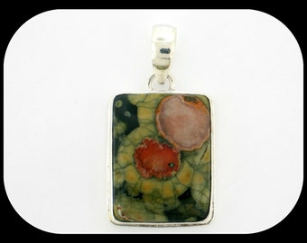 """Unusual pattern one of a kind VARISCITE 925 sterling silver PENDANT 1 3/4"""""""