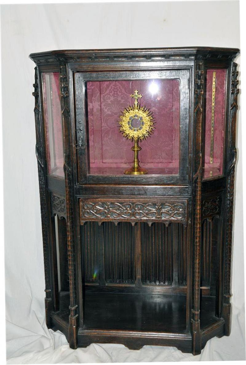 Rare Religious French Gothic Display Cabinet Glass Doors