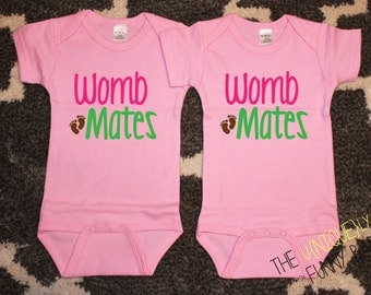 Twin Girls, Cute Baby Gift, Womb Mates Twin Girl Bodysuits, Pink Bodysuits, Twin Gift Sets, Baby Shower Gift, Baby Announcement