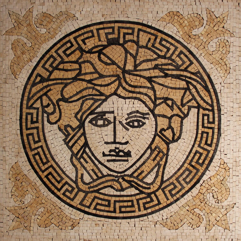 versace logo greek round frame mural art decor marble mosaic. Black Bedroom Furniture Sets. Home Design Ideas