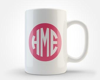 Personalized Coral Circle Monogram Mug