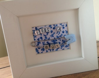 Miniature New It's a Baby Boy unique personalised name frame present gift