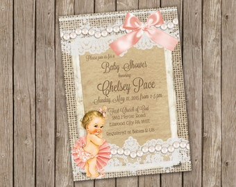 Vintage Baby Shower Invitation for Girl, Pink and Pearls - printable 5x7