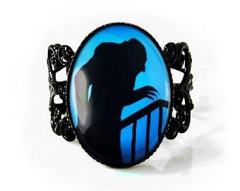 Jet Black Nosferatu Vampire Silhouette Adjustable Horror Halloween Filigree Ring 79-2-JBFR