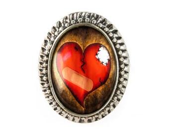 Antique Silver Zombie Love Broken Heart Adjustable Horror Ring 135-SOR