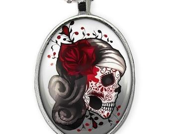 Shiny Silver Day of the Dead Sugar Skull Girl Glass Pendant Necklace 73-SON
