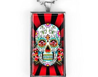 Silver Traditional Dia De Los Muertos Sugar Skull Rectangle Glass Pendant Necklace 61-SRCN