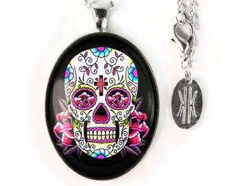 Large Silver Traditional Pink Day of the Dead Sugar Skull Glass Pendant Necklace 58-SLOPN