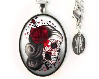Large Silver Day of the Dead Sugar Skull Girl Glass Pendant Necklace 73-SLOPN