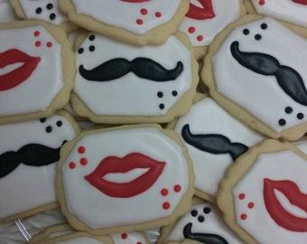 Mustache and Lip Cookies