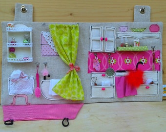 Made to order - Sewn Dollhouse with Miniature Accessories / Travel Dollhouse / OOAK Portable Fabric Dollhouse