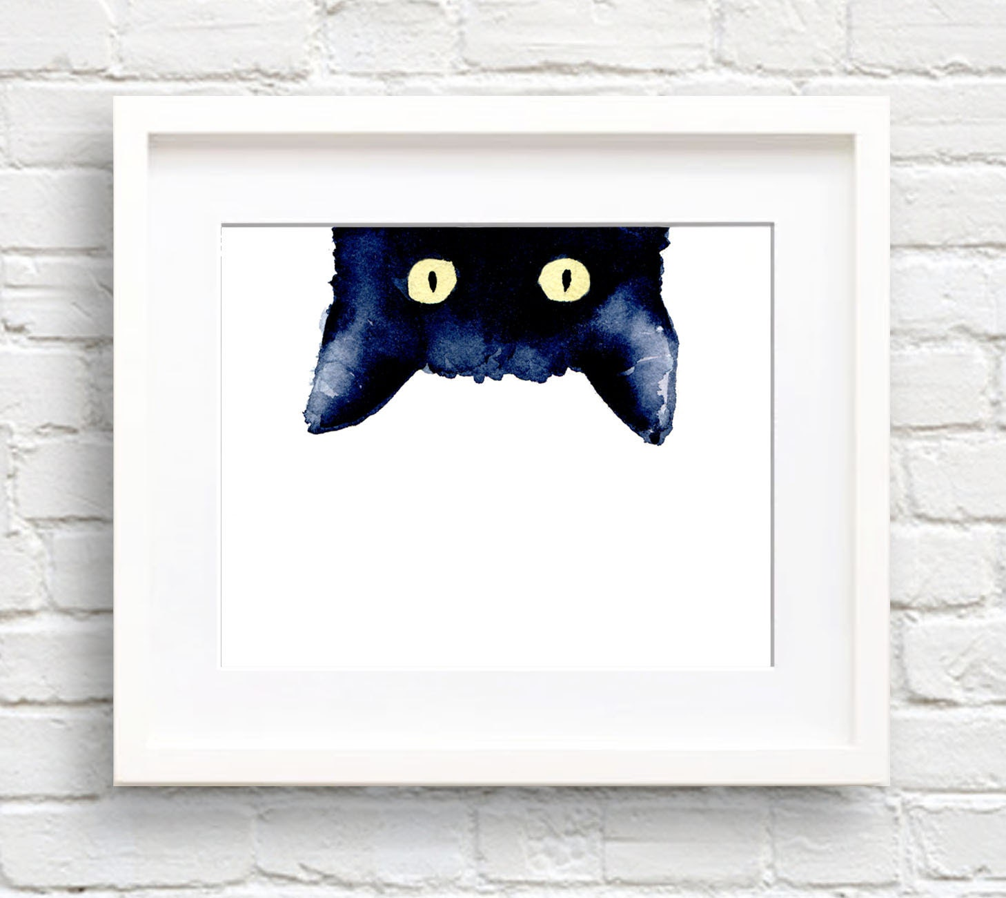 sneaky black cat art print wall decor watercolor. Black Bedroom Furniture Sets. Home Design Ideas