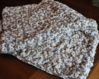 Handmade Blue Brown Cream Velour Crochet Baby Crib Blanket Toddler Blanket Beautiful One of a Kind Large 32 X 38 Baby Shower Gift Baby Boy