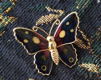 Vintage Navy Blue and burgundy Butterfly Brooch