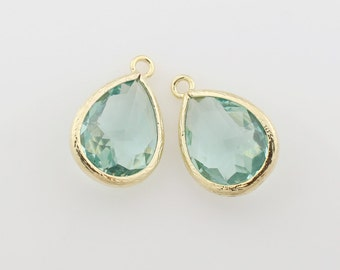 G000311P/Erinite/Gold plated over brass/Drop faceted glass pendant/11.4mm x 17.1mm /2pcs