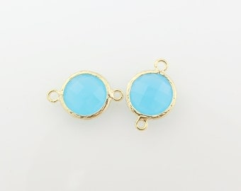 G001108C/Pacific Opal/Gold plated over brass/Faceted round glass connector/17mm x 12mm/2pcs