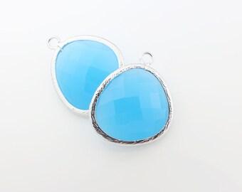 G001203P/ Dodger Blue /Rhodium plated over brass/Large Asymmetrical framed glass pendant/13mm x 15.8mm/2pcs